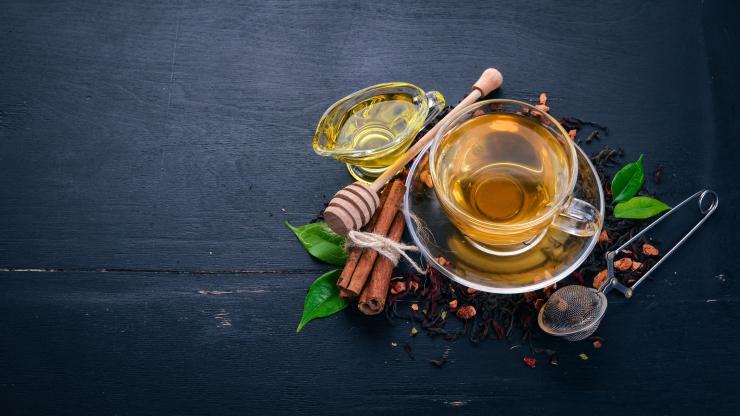 чай, мед,